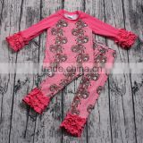 Pink elephant print cheap wholesale long sleeve clothing set 2pcs girls boutique outfit icing pants match t-shirt clothes online