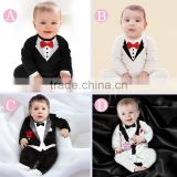 China supplier gentleman long sleeve baby romper