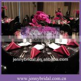 NP008E Black sequin table linen and Hot pink taffeta table napkin
