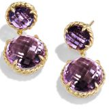 Gold Plated Chatelaine Mini Double-Drop Earrings with Amethyst(E-037)