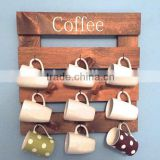 Custom coffee mug wooden holder,wood coffee cup display racks
