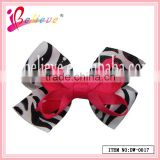 Factory wholesale price newest style animal strips ribbon hair bow hairgrips for girls (DW--0017)