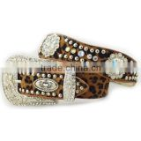 Wholesale Women's Faux Hair Leopard Western Belts