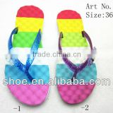 Factory derictly price rainbow insole glitter shoe laces beauty wedge flat flip flops in wholesale