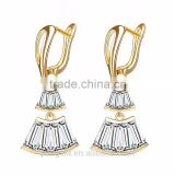 Two colors unique design fan shape cubic zirconia silver gold plated latest cute girls earrings