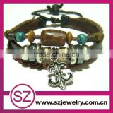 2013 new brown anchor charm men's leather bracelet