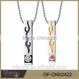 Stainless steel fire love shape crystal cremation brand pendant necklace                                                                         Quality Choice