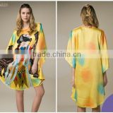 2016 casual chinese digital printing batwing one size women silk dress