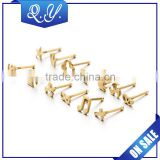 Wholesale multi pattern surgical steel ear piercing jewelry fashion gold plated stainless steel stud earrings