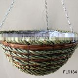 Palm Leaf Rope and Fern Hanging Basket