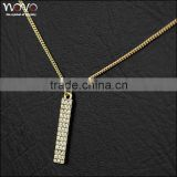 alloy IP gold fashion necklace with engraving charm tag jewelry