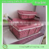 Factory wholesale s/3 rectangular iron metal chicken wire storage basket with handle & liner