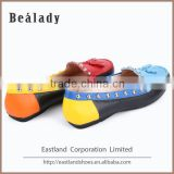 Cheap 2016 candy colored ladies safety moccasin loafers casual shoes with rivet