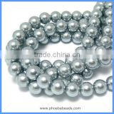 Wholesale AAA Quality Imitation Faux Smooth Round 10mm Silver Gray Glass Pearl Beads Loose Strand For Jewelry Making GPB-10mm002