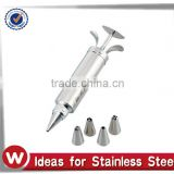 Stainless Steel Decorating Gun Set with 4 Tips