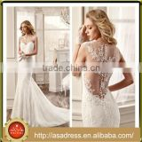 VDN54 Generous Mermaid Bridal Party Gown 2016 Spring Sheer Back Sleeveless Sexy Wedding Applique Wedding Dress For Wedding Party