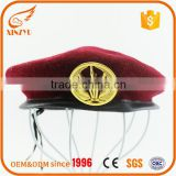 Double cotton cloths custom army wool beret badges with visor