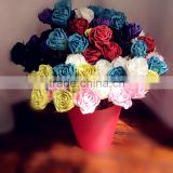 mixed color crepe paper rose, colorful decoration rose, home decoration rose