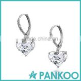 Invisible Heart Leverback Earrings CZ 925 Sterling Silver