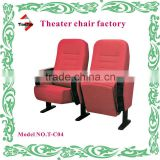 (Cheap theater chairs factory)Fabric cheap theater chairs with writing pad and fixed legs