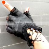 Women Black Lace Gloves Half Finger Soft Genuine Sheepskin Leather Gloves Ladies Dance Costume Sexy driving Gloves