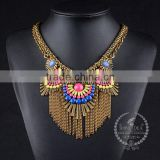 high quality colorful beads chunky statement necklace tin alloy fashion women pendant necklace 6390160