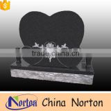 High polished absolute black granite carved three heart shaped headstone for sale NTGT-066L