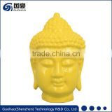 Resin or customer pointed plastic yellow buddha head sculpture
