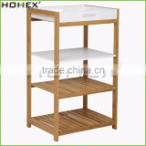 Bathroom Rack with 4 Shelves Storage Bamboo Rack Wooden Shelf and Tray/Homex_FSC/BSCI Factory