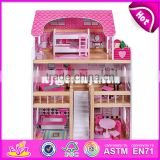 New design pretend play miniature wooden toy doll house for kids W06A228