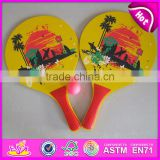 ECO-Friendly Material wooden beach racket,Wooden beach bats,Hot sale promotion beach paddle Beach racket ball game set W01A100