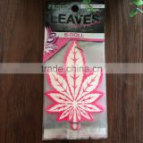 2016 silk printing leaf shape car paper air fresher /freshener/freshner with display plate