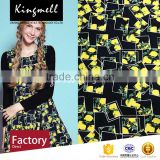 Custom yellow lemon digital printed cotton linen textile fabric for dresses