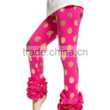 Hot sale baby fall clothes ruffle pants boutique children's polka dot tight cotton leggings