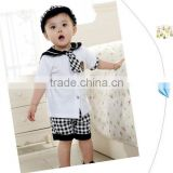 Wholesale England style 3pcs navy uniform for baby boy' clothes set,including shirt,pants and hat