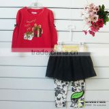 New Girls Long Sleeved Cartoon T shirt+Glitter Tutu Skirts Leggings 2pcs Outfits Baby Suits
