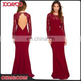 Customed Wine Red Hollow Out Long Bodycon Lace Halter Dresses Women Formal Maxi Evening Dress