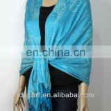 sky-clearing blue artificial Viscose silk scarves
