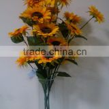 Real touch artificial flowers 5 heads artificial sunflower bouquet for wedding decoration                                                                         Quality Choice
