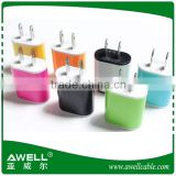 Wholesale High quality of colorful single mobile phone travel charger/USB adaptor wall charger