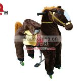 QHKR09 Dark Brown Horse Mechanical Kiddie Ride Without Electricity for Sale