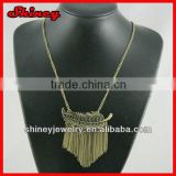 antique styled bronze colored alloy chain tassel necklace