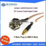 Hot F Male Plug Switch MMCX Male Plug ST Connector RG178 cable Adapter 15CM 6""