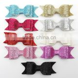 Hot selling glitter large hair bows with clips Baby Hair Accessories girl solid sparkly hair bow leather hair bow CB-3627