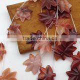 Wholesale price natural Mixted Color Agate stone Leaf gemstone shape Carved Leaf semi precious loose gemstone beads