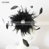 Black feather hair fascinator on metal clip