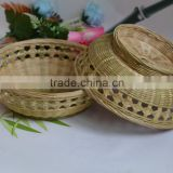 Mini Bamboo Weaving Storage Basket, for candy or sundries, round shape