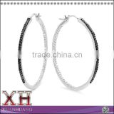 BLACK DIAMOND STERLING SILVER HOOP EARRINGS