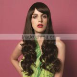Newly arrival long brown body wave women fashion hair wig synthetic wig machine made in china