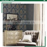 economic embossed pvc coated wallpaper, dark blue luxurious damask wall sticker for decor wall , absorb sound wall paper brands